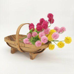 Vintage Primitive Oak Wood Slat Basket Shaker